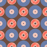 Seamless pattern retro vinyl musical record audio backgroun disco track grungy vector music illustration Royalty Free Stock Images