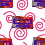 Seamless pattern - retro watercolor audio cassette. Royalty Free Stock Photos
