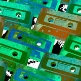 Seamless pattern retro watercolor audio cassette. Royalty Free Stock Images