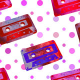 Seamless pattern - retro watercolor audiocassette. Royalty Free Stock Image