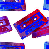 Seamless pattern - retro watercolor audiocassette. Royalty Free Stock Images