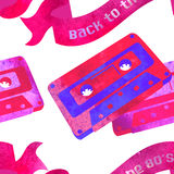Seamless pattern - retro watercolor audiocassette. Stock Photos