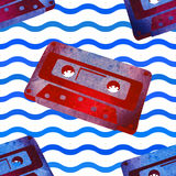 Seamless pattern - retro watercolor audiocassette. Royalty Free Stock Photo