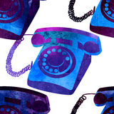 Seamless pattern - retro watercolor telephone. Royalty Free Stock Images