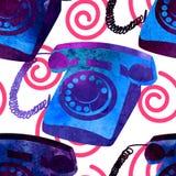 Seamless pattern - retro watercolor telephone. Stock Image
