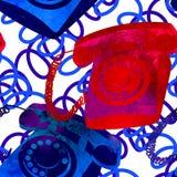 Seamless pattern - retro watercolor telephone. Royalty Free Stock Image
