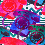 Seamless pattern - retro watercolor telephone. Royalty Free Stock Photography