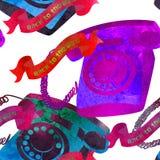 Seamless pattern - retro watercolor telephone. Royalty Free Stock Photos