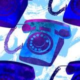 Seamless pattern - retro watercolor telephone. Stock Photo