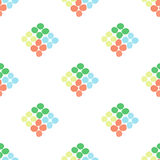 Seamless pattern with rhombus of circles on a white background. Illustration of decorative colorful rhombuses from circles or spots. Repeating spots in the form Stock Images