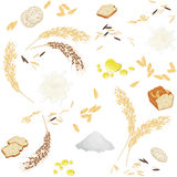 Seamless pattern with rice foodstuff. There are rice ears, flour, grains, milk, oil, bread and waffles Stock Photo