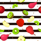 Seamless  pattern of ripe apple kiwi pear fruit. Striped background with delicious juicy pears kiwifruit apples slice half. Vector fresh fruit Illustration for Royalty Free Stock Photography