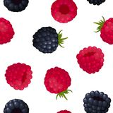 Seamless pattern of ripe berry blackberries and raspberries. On white background. Design for textiles, banners, posters. Vector illustration vector illustration
