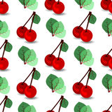 Seamless pattern. ripe cherries and leaves. Illustration. use a smart phone, website, printing, decorating etc Stock Images