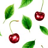 Seamless pattern with ripe cherry and green leaves Royalty Free Stock Photography