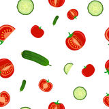 Seamless pattern of ripe cucumbers and tomato. Vegetables flat style vector illustration