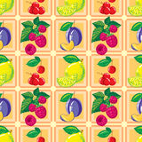 Seamless pattern of ripe lemon, raspberry, cherry, plum Royalty Free Stock Image