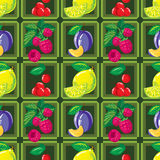 Seamless pattern of ripe lemon, raspberry, cherry and plum Stock Image