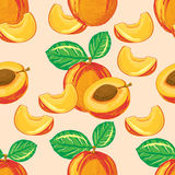 Seamless pattern of ripe peach Royalty Free Stock Images