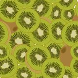 Seamless pattern of ripe pieces of fruit kiwi. Vector illustration. Vector colored pattern of sliced kiwi fruit. Tropical fruits. Ideal for wallpapers, packaging Stock Images