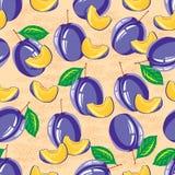 Seamless pattern of ripe plum Stock Photos