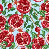 Seamless pattern with ripe pomegranates and leaves. Vector illustration. Vector bright pattern with red pomegranate fruits, grains and leaves on a blue Stock Photos