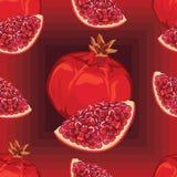 Seamless pattern of ripe red garnet Royalty Free Stock Image
