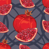 Seamless pattern of ripe red garnet Stock Photos