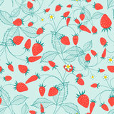 Seamless pattern of ripe strawberries Stock Photo