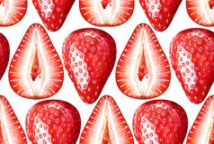 Seamless watercolor pattern with ripe strawberries on white background. Seamless pattern with ripe strawberries on white background. Watercolor hand drawn Royalty Free Stock Photo