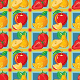 Seamless pattern of ripe strawberry, apple, orange, pear Royalty Free Stock Images