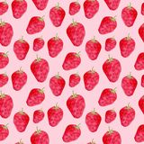 Seamless pattern with ripe strawberry . Cute background in watercolor. Sweet berry packaging design or wrapping paper. Homemade de. Coration for jam Royalty Free Stock Photos