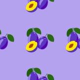 Seamless Pattern with Ripe Tasty Plum Stock Image