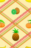 Seamless pattern with ripe tropical fruits. Stock Photography