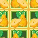 Seamless pattern of ripe yellow pear Stock Images