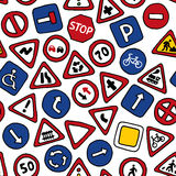 Seamless pattern of road signs. stock illustration