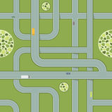 Seamless Pattern of Roads With Cars. Aerial View of Highway Royalty Free Stock Images