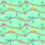 Seamless pattern with  roads and cars. Royalty Free Stock Photo