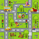 Seamless pattern with  roads Stock Photos