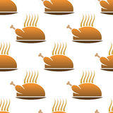 Seamless pattern of roast chicken on dish Royalty Free Stock Photography