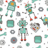 Seamless pattern with robots. Colorful vector illustration vector illustration