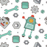 Seamless pattern with robots. Colorful vector illustration stock illustration