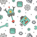Seamless pattern with robots. Colorful vector illustration royalty free illustration