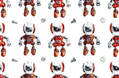 Seamless pattern with robots. Watercolor hand drawn illustration stock illustration