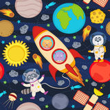 Seamless pattern with rocket and animals Royalty Free Stock Images