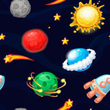 Seamless pattern with rocket and fantastic planets. Seamless pattern with cartoon rocket and fantastic planets, vector space texture stock illustration