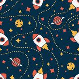Seamless pattern with rocket, saturn, moon and star. Space background. Vector isolated illustration stock illustration