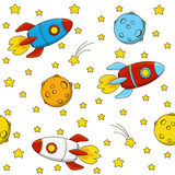Seamless pattern with rockets Stock Image