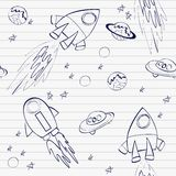Seamless pattern. With rockets in space Stock Photo
