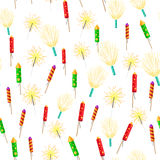 Seamless Pattern with Rockets Sparklers Fireworks Royalty Free Stock Photography